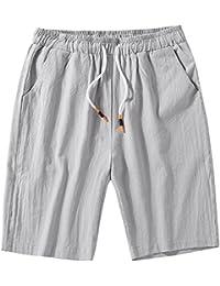 GladiolusA Cargo Bermudas Hombre Pantalones Cortos De Playa Deportivos  Chinos Pantalon Lino Cintura Elástica Tamaño Grande 8352a03cbd47
