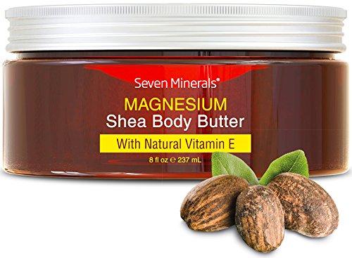Nouveau beurre de karité organique pour le corps enrichi en magnésium - crème hydratante saine + une crème pour peaux sèches + booster d'acide hyaluronique - Soin 100% naturel avec des résultats de peau soyeuse d'effet spa.
