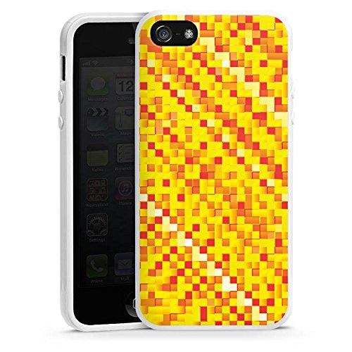 Apple iPhone 5s Housse Étui Protection Coque Motif Motif Pixel Housse en silicone blanc