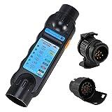Voilamart Prüf-/Testgerät 7-13 Polig Anhängerbeleuchtung Testen Gerät Messgerät 12V exkl. 9V Batterie Dose Anhängerbeleuchtung Trailer Tester mit 2 Adapter Pol Dose