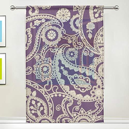 QianruB-No. 1 Rasch Rasch Mandalay Paisley Vorhang für Tür, Fenster, Fenster, Vorhang 2561 Paneel Schal Volants Breite Breite Gaze Vorhang für Schlafzimmer Küche 139,7 x 198 cm -