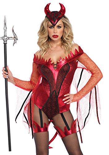 Leg Avenue 8673302003 2 teilig Set Blendende Roter Teufel, Damen Karneval Kostüm Fasching, Größe M (EUR 38/40)