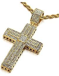 Grande Oro Colgante de Cruz con Zirconia Cúbica, Collar de Hombre Mujer, Acero Inoxidable, Cadena Cuerda 75CM