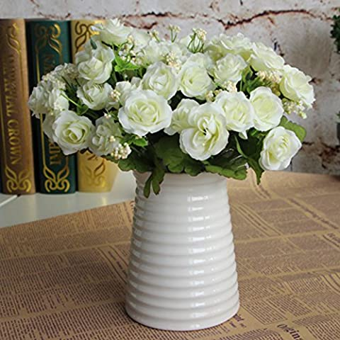 Molie 15pcs Artificial Rose Flower Bouquet Simulation Flowers Silk Fake Flowers Craft Home Wedding Party Decoration Valentine's Day Gift, White