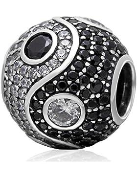 soulbead Yin Yang Charme mit Klar und Schwarz Zirkonia 925Sterling Silber Tai Chi Symbol Bead für Schlangenkette...