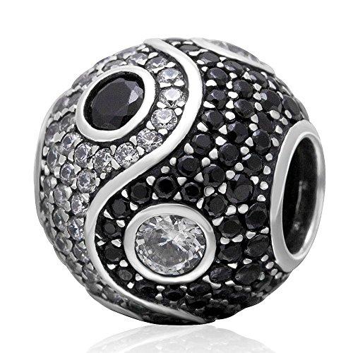 Yin yang barrel charm in argento sterling 925tai chi simbolo con zircone chiaro e nero, adatto braccialetti europei