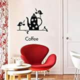 Wc-asdcc Uccelli Che Bevono caffè Wall Sticker per La Decorazione della Casa Decalcomania della Cucina DIY Carta da Parati Nera Rimovibile Decorazione della Parete
