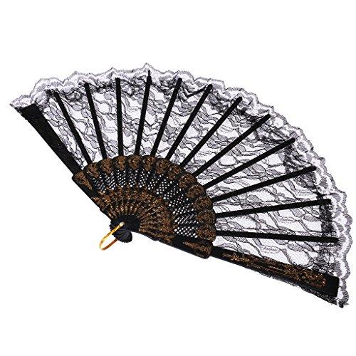 MagiDeal Retro Victoriano Abanico Ventilador Plegable de Mano Favor Bola de Danza Despedida de Soltera Encaje Negro