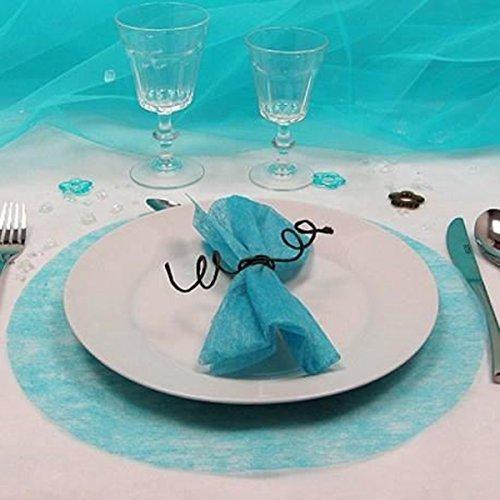 Lot de 40 Sets de table rond intissés coloris Turquoise - 35 cm