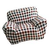 MagiDeal 1-Sitz / 3-Sitzer Modern Stretch Sofabezüge Sofahusse Couch Sofa Husse Wohnzimmer Haus Dekoration , Farben und Größe Auswählbar - Kaffee kariert, 90-140cm