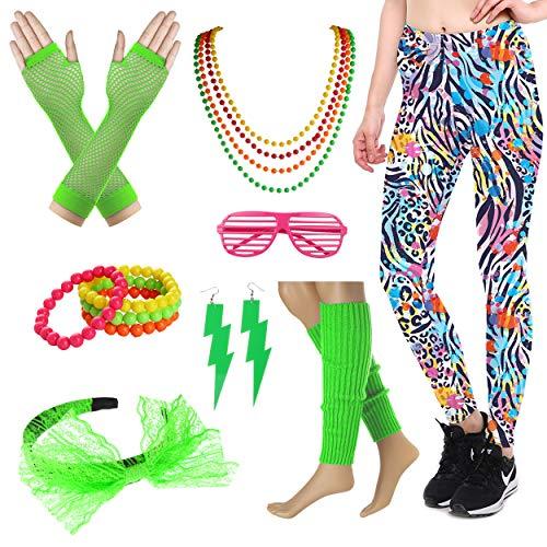 8IGHTEEN COSTUME Neon Leggings Hosen 80er Jahre Stil Kostümzubehör Set für Frauen (3X/4X, (1980er Jahre Rock Star Kostüme)