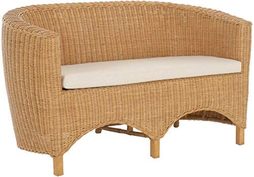 Rattan-Sofa 2-Sitzer CLUB in der Farbe Honig inkl. Sitzpolster Beige, Couch aus echtem Rattan -