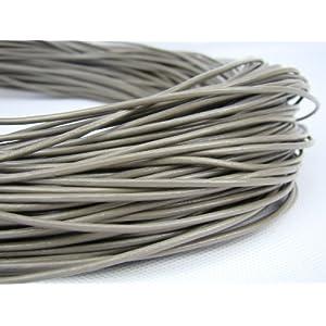 Lederband, Lederschnur, Lederriemen 5 m. Rund 2,0 mm. Grau