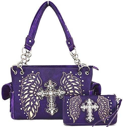 Blancho Biancheria da letto delle donne [Aquila Stile] PU cinturino in pelle portafoglio cerniera borsa del supporto di carta viola Combo-Viola