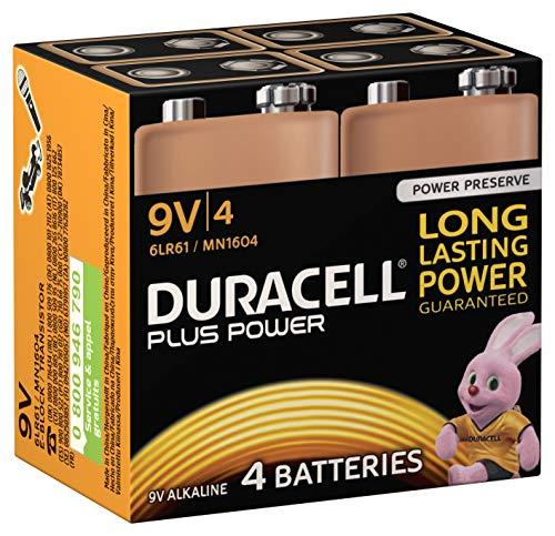 Duracell Plus Power batteria non-ricaricabile Alcalino 9 V, Confezione da 4