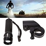 #4: Getko With Device Zoomable 3 Mode Bicycle Headlight Led Flashlight Front Bicycle Bikeing Light Tourch Lamp Mount Torch, Holder Clip Mount (Black)