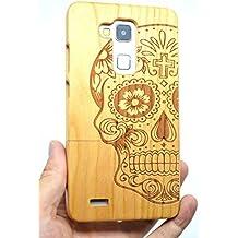 RoseFlower® Huawei Ascend Mate 7 Funda de Madera - Cráneo de madera cerezo - Natural Hecha a mano de Bambú / Madera Carcasa Case Cover con GRATIS Protector de Pantalla para tu Smartphone