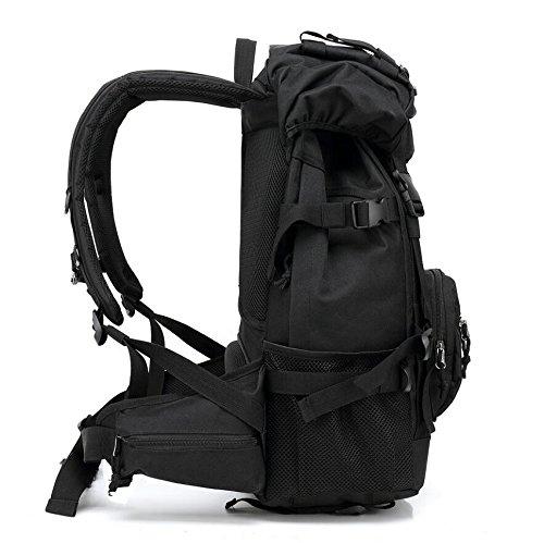 LF&F Backpack 600D wasserdichtes Oxford Tuch im Freien große Kapazität Schulter Rucksack Spielraum Freizeit Rucksack Tarnung Bergsteigen Tasche militärischen taktischen Rucksack Camping Camping Ausrüs Black