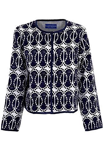 Fantasia Boutique Femme Bleu Marine Blanc Manches Longues Ovale Imprimé Femmes Doublé Texturé Veste - Crème, Marine, S