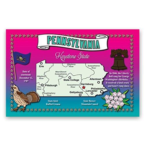 PENNSYLVANIA STATE MAP Postkarten Set mit 20 identischen Postkarten Postkarten mit PA Karte und Bundessymbolen Hergestellt in den USA.