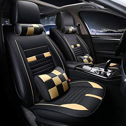 WJSW Autositzbezug aus Leder, 5 Sitze, Komplettset, mit 2 Kopfstützen und 2 Lendenkissen, für den größten Teil des Autos (Farbe: Schwarz + Gelb) -
