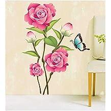 Zooarts grande bonito rosa flores y mariposas pegatinas de pared, extraíble Arte Vinilo Adhesivos Decor Home Dormitorio Mural