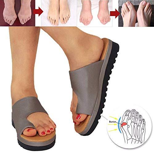- Plattform Sandal (Große Orthopädische Damen-Sandalen Orthopädische Schuhe Keile Summer Bunion Corrector Frauen Plattform Schuhe PU Leder Hausschuhe weiche Verschleißfest Für Strandreisen,Brown,39)
