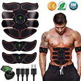 Moonssy Abs Trainer Abdominal Belt, EMS Muscle Stimulator with LCD Display & USB