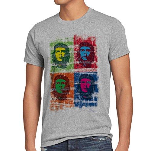 Andy Warhol Revolution (style3 Che Guevara Pop T-Shirt Herren kuba revolution, Größe:M;Farbe:Grau meliert)