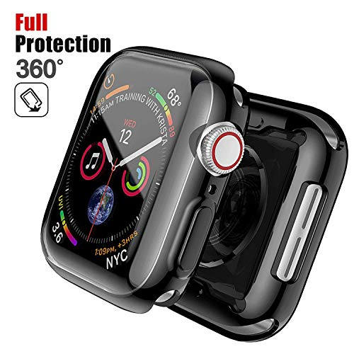 Chok Idea Compatible with Apple Watch 4 44mm Case Protector,360° Full Abdeckung Protection Anti-Fall Stoßstange Umgeben Schweißfest TPU Case Cover Replacement for iWatch Series 4,Black -
