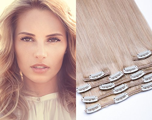 GlamXtensions Echthaar Clip In Extensions Set für komplette Haarverlängerung 100% Echthaar 7 teilig 80gramm hochwertigeres Remy Haar 45 cm Clip-In Hair Extension Nr. 22 Hellblond blond (Hair Extensions Indischen 24 Remy)
