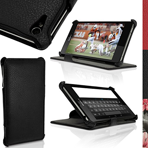 igadgitz Premium Folio Nero Eco Pelle Custodia Case Cover per Sony Xperia T3 D5102 con Supporto Multi-Angle + Protettore