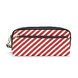 Alaza Federmäppchen mit Reißverschluss, PU-Leder, Rot/Weiß gestreift