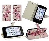 emartbuy Vodafone Smart E8 Wallet Etui Hülle Case Cover aus PU Leder mit Kreditkartenfächern - Rosa Blossom