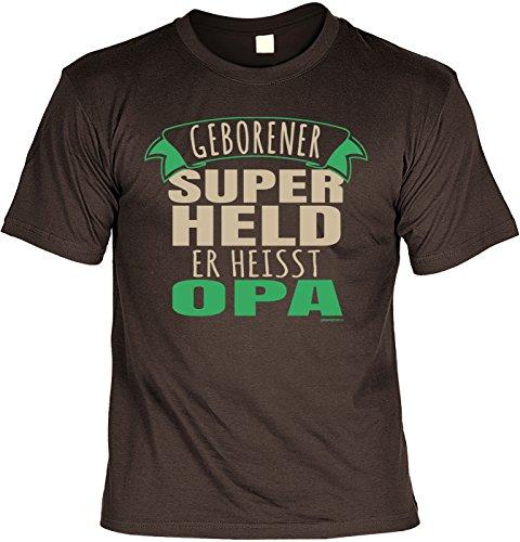 T-Shirt - Opa - Geborener Superheld - cooles Shirt mit lustigem Spruch als Geschenk zum Vatertag Braun