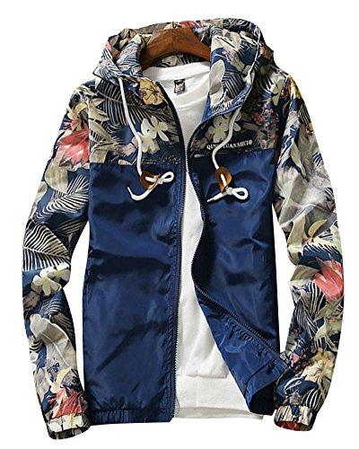 Uomo giacca con cappuccio cappotti slim fit maniche lunghe casual sport stampa giubbino baseball giubbotti marina militare l
