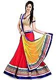 FenaPrime Women's Red Net Lehenga Chaniy...