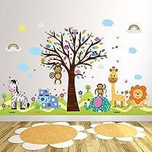 """wallflexi Oficina decoración hogar Adhesivos de Pared """"Feliz Hills & Zoo """" murales extraíble Autoadhesivo Arte cuarto del bebé KINDERGARDEN Colegio Niño Infantil Habitación decoración, Multicolor"""