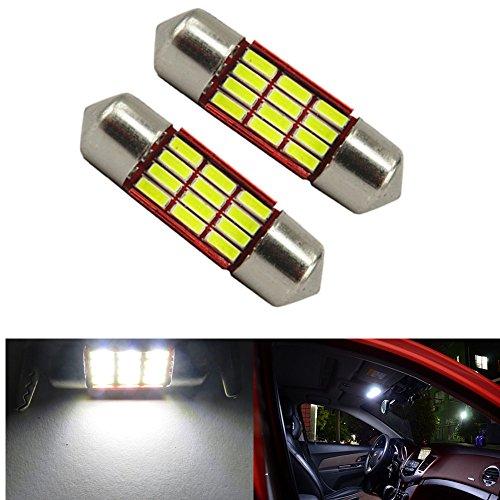 WLJH Super Bright 4014 Chipsets 31mm Canbus Sans Erreur 3021 3022 3175 6430 LED Feston Auto LED Ampoules voiture Intérieur Porte Carte Dôme Lumières, Pack de 2