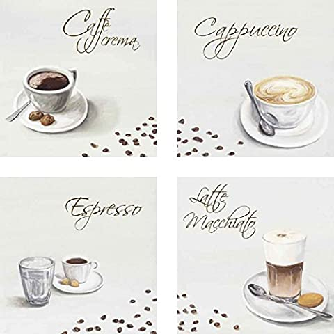 Images Canvas Picture Art Print Artland Set Of 4 Food & Drink Coffee As: Caffè Crema, Cappuccino, Espresso, Latte Macchiato - Coffee In Different Sizes Huge Selection In Unsrem Dealer Shop! - je 15.75