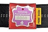 josi.li Halsbandtasche für Hundemarken bis 33x33mm, Leder rot, für Halsbandbreite bis 40mm