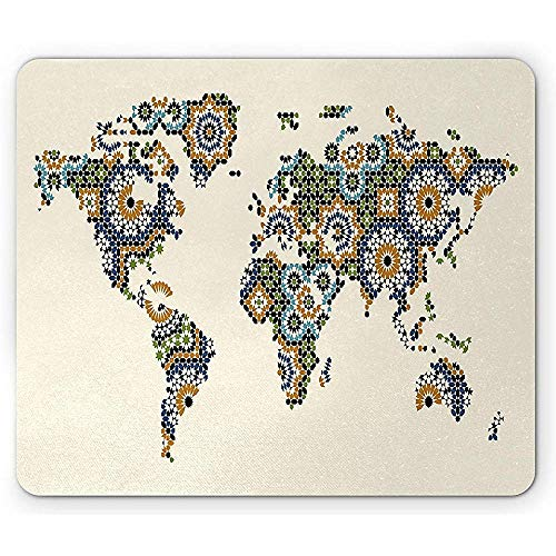 Ergonomisches Mousepad,Modern Mouse Pad Arabesque Moroccan Art Inspired Antique Mosaic Style World Map Middle East Culture Rectangle Non-Slip Rubber Mousepad 18X22Cm -