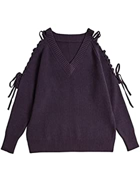 Vogueearth Fashion Hot Mujer's V-Neck Lace up Knit Jumper Jersey Sudaderas Suéter Pull-over Pullover Top