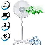 Standventilator 40cm 50 Watt, 3 Stufen, 80 Grad Oszillation, 3 Neigungswinkel, Höhenverstellbar weiß, Standlüfter, Ventilator