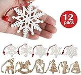 Lemonfilter 12 Stück Holz-Anhänger Schneeflocken baumschmuck Holz Weihnachts-Anhänger Hängeornamente Weihnachtsanhänger weiße Verzierung Holzscheiben DIY