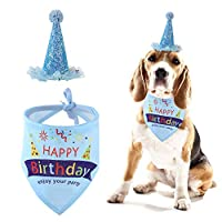 THETAG Dog Birthday Bandana, Dog Birthday Triangle Scarfs Birthday Party Hat for Dog Puppy Birthday Party Supplies, Gift and Party Decoration Set (Blue)