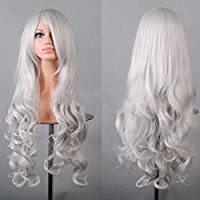 HuaYang Sexy mujeres Cosplay Peluca ondulada larga Hairpiece rizado pelucas (plata)