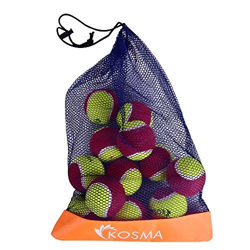 Kosma Set 12 palla da tennis | Pet palle palle da tennis | Giocattolo del cane sfera | Giocattolo per formazione di Pet in Mesh Borsa da trasporto - Colori: Rosso/Giallo