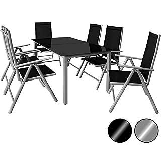 Deuba® Aluminium Sitzgruppe 6+1 Silber | 6 verstellbare Stühle | Tisch höhenverstellbar | 5mm Tischplatte aus Sicherheitsglas | wetterfest Drinnen & Draußen [ Modellauswahl 4+1 / 6+1 / 8+1 ] - Alu Sitzgarnitur Gartenmöbel Gartenset Essgruppe Gartengarnitur Klappstuhl Gartenmöbelset