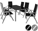 Deuba® Aluminium Sitzgruppe 6+1 Silber - Alu Gartenmöbel